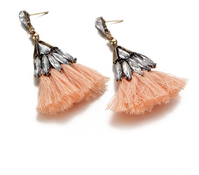 5d977c6c8 Flipkart.com - Buy Fabfashion Orange Colour Velvet Crystal Silk Tassel  Earring For Women's Cubic Zirconia Alloy Dangle Earring Online at Best  Prices in ...