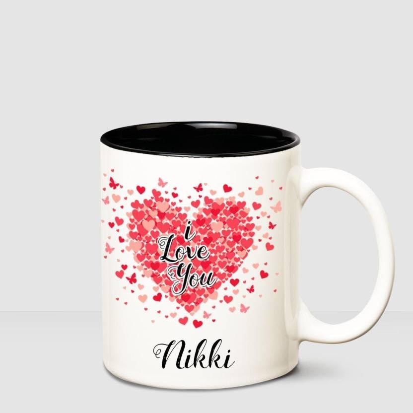 255d656c1a Huppme I love you Nikki Inner Black romantic coffee name mug Ceramic ...
