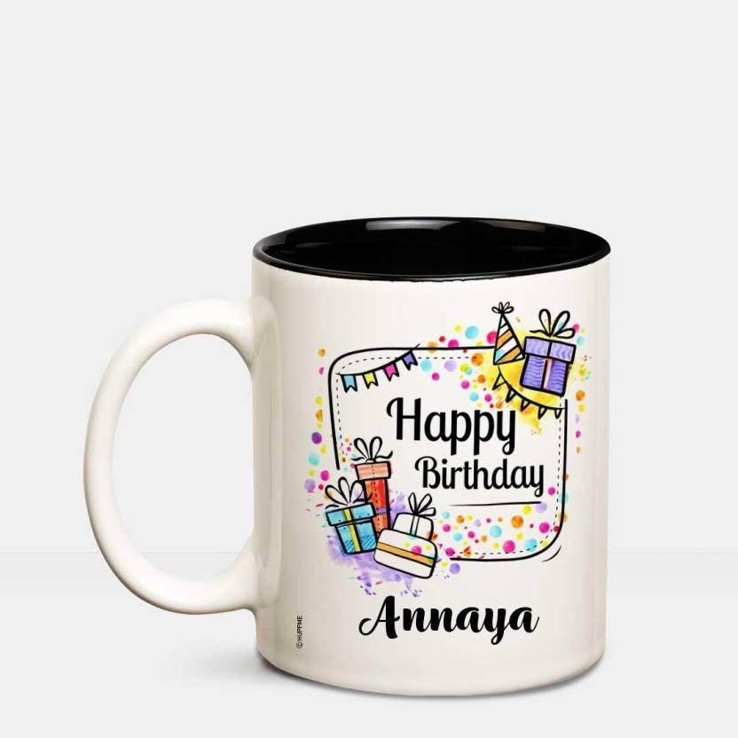 Huppme Happy Birthday Annaya Inner Black Coffee Name Mug Ceramic Mug