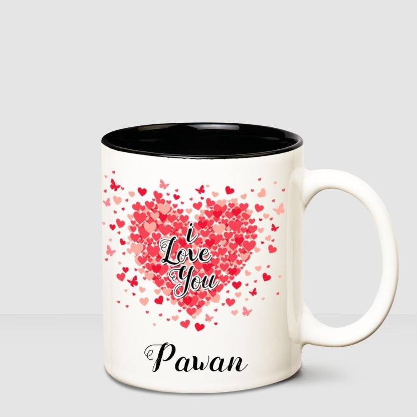 Huppme I Love You Pawan Inner Black Romantic Coffee Name Mug