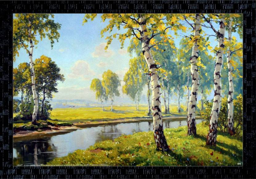 Janki Beautiful Tree And Sky Water Nature Wall Painting Canvas 14 Inch X 20 Inch Painting