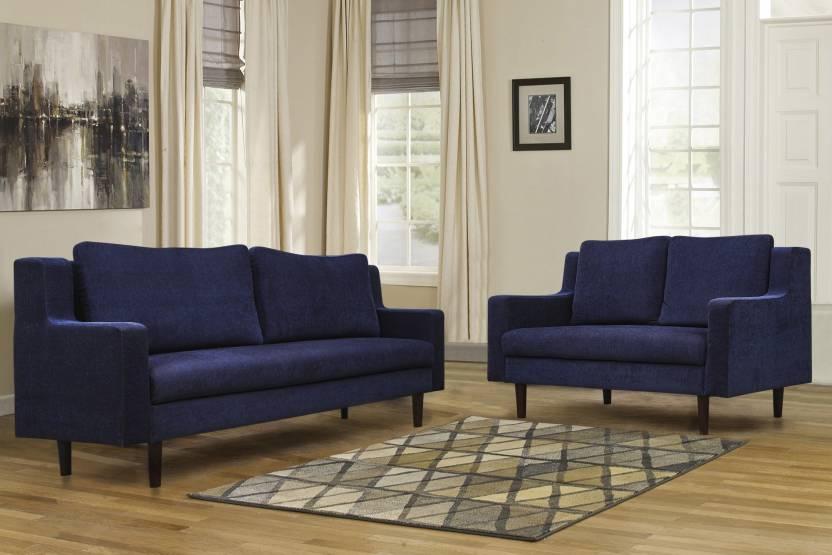 Peachtree Westside Fabric 3 2 Navy Blue Sofa Set