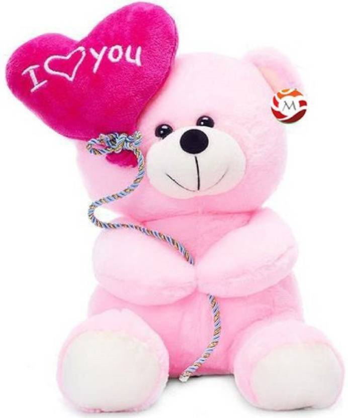 MTC Light-Pink Teddy With I Love You Heart Balloon Stuffed Soft Plush Toy Love Girl- 18cm - 18 cm (Pink)
