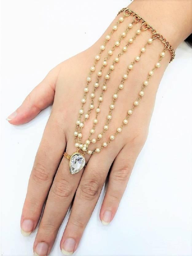 28c2ee791f In Trend Metal Pearl Gold-plated Ring Bracelet Price in India - Buy In  Trend Metal Pearl Gold-plated Ring Bracelet Online at Best Prices in India  ...