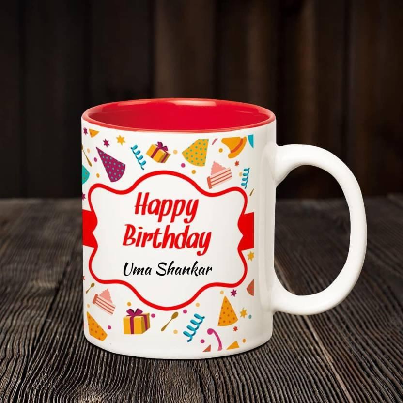 Huppme Happy Birthday Uma Shankar Inner Red Coffee Name Mug Ceramic