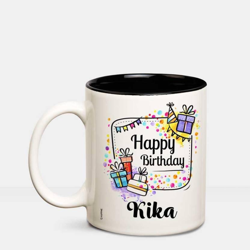 Huppme Happy Birthday Kika Inner Black Coffee Name Mug Ceramic Mug