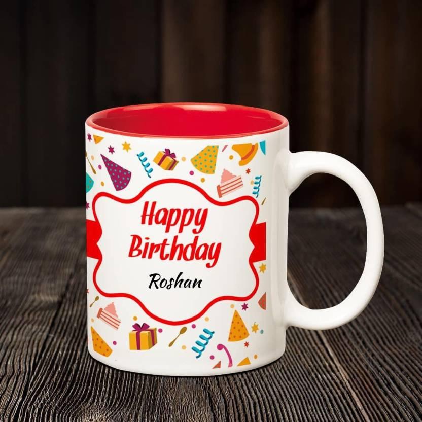 Huppme Happy Birthday Roshan Inner Red Coffee name mug