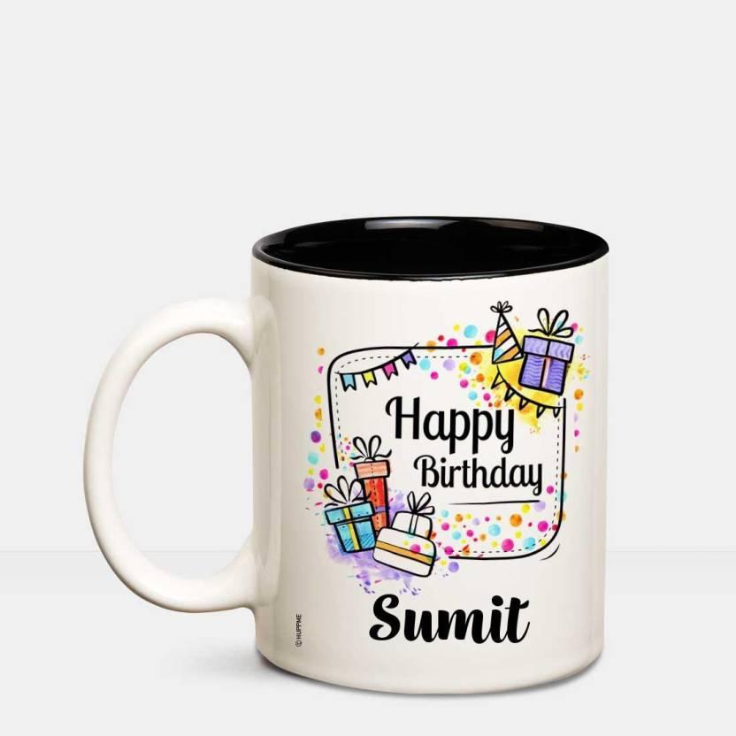 Huppme Happy Birthday Sumit Inner Black Coffee Name Mug Ceramic