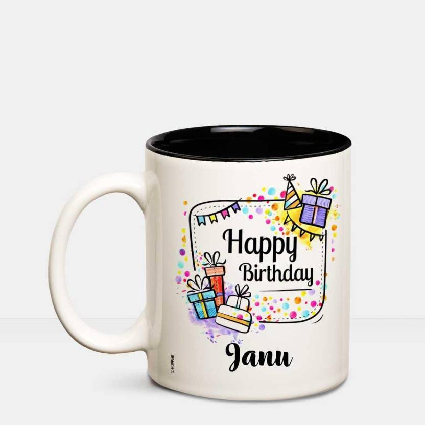 Huppme Happy Birthday Janu Inner Black Coffee Name Mug Ceramic Mug