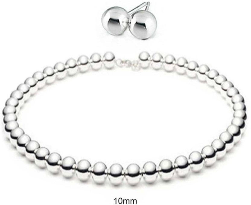 Sterling Silver 10mm Polished Ball Bead Drop Earrings