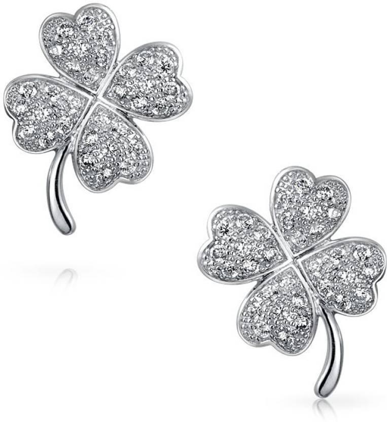 7da87d3c6 Flipkart.com - Buy Bling Jewelry Lucky Four Leaf Clover Pave CZ Stud  earrings 925 Sterling Silver 13mm Cubic Zirconia Sterling Silver Stud  Earring Online at ...