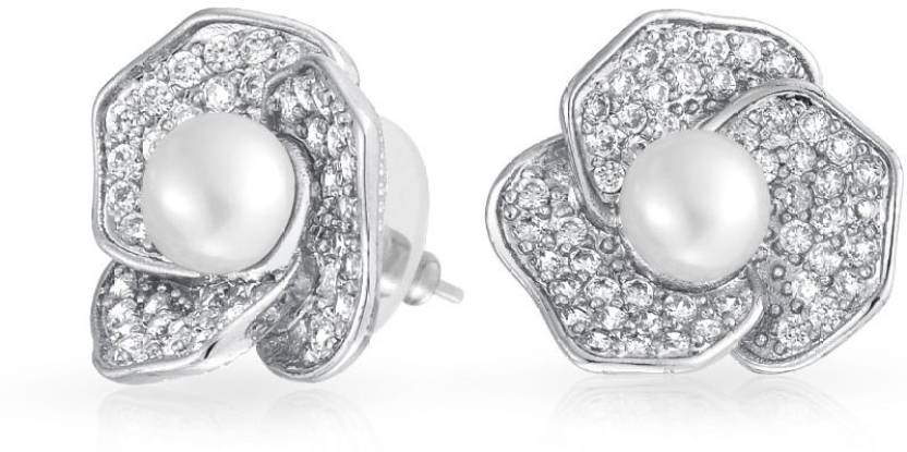 f0827b15c Flipkart.com - Buy Bling Jewelry Freshwater Cultured Pearl Flower Stud  earrings Rhodium Plated 19mm Cubic Zirconia Brass Stud Earring Online at  Best Prices ...