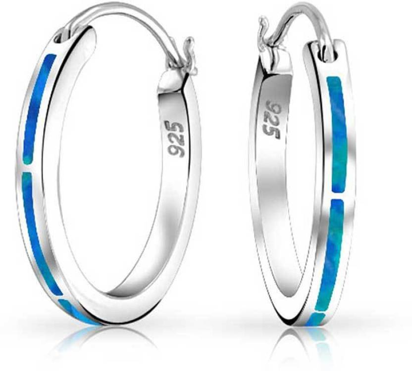 a2d7c10e2 925 Silver Synthetic Blue Opal Inlay Small Hoop Earrings Rhodium Plated  Opal Sterling Silver Hoop Earring Online at Best Prices in India