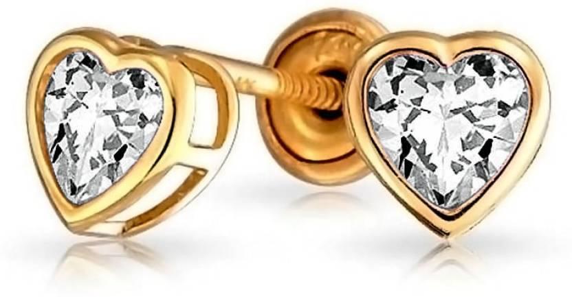 b82da08c1 Bling Jewelry CZ Heart Baby Safety Stud earrings 14k Gold 4mm Cubic  Zirconia Metal Stud Earring