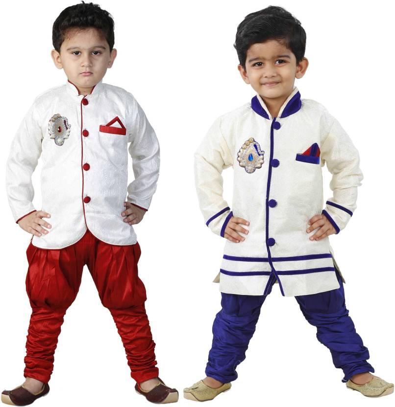 1039f3db5 FTC FASHIONS Boys Festive & Party Kurta and Pyjama Set (Maroon Pack of 2)