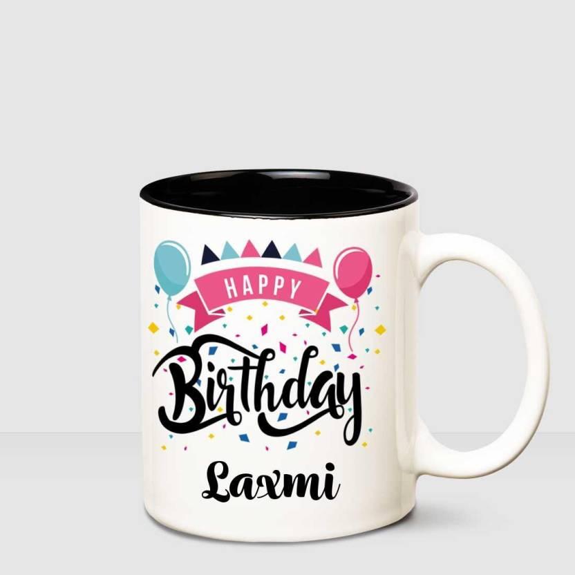 Huppme Happy Birthday Laxmi Inner Black Printed Personalized Coffee Mug Ceramic Mug