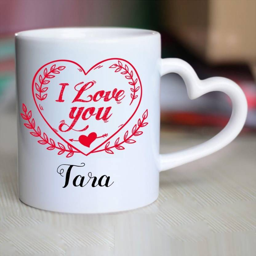 Huppme I Love You Tara Heart Handle Ceramic Mug Price in