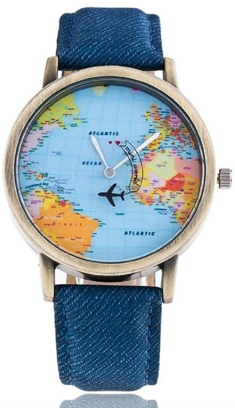 Watch With World Map AFLOAT AFL~1092~BEAUTIFUL~WORLD MAP DIAL~STYLISH Watch   For Men
