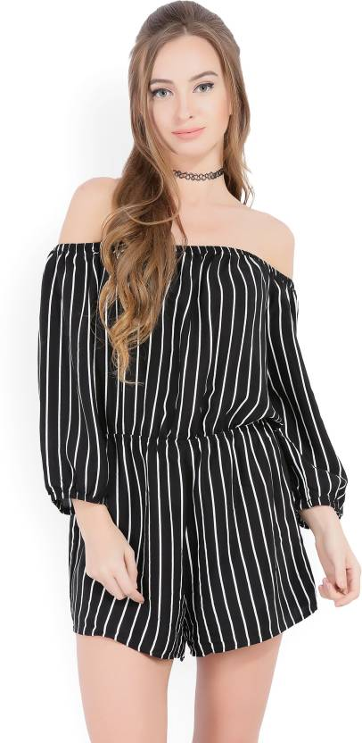 c023a187bc9 Forever 21 Striped Women s Jumpsuit - Buy BLACK WHITE Forever 21 Striped  Women s Jumpsuit Online at Best Prices in India