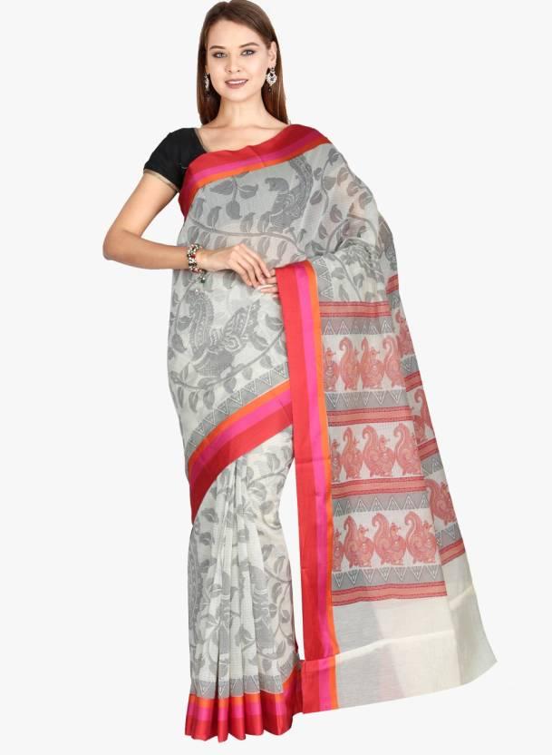 57826de90 Buy The Chennai Silks Woven Chanderi Cotton White Sarees Online ...