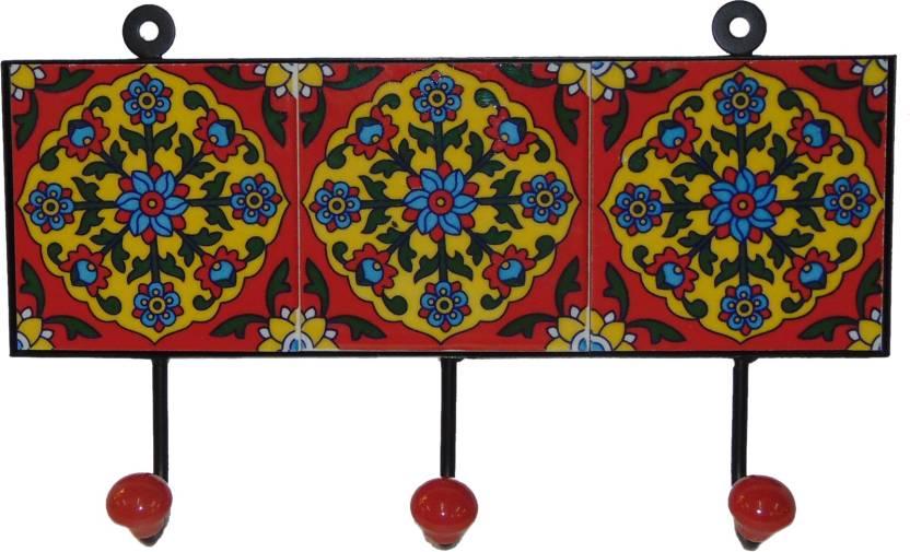 Desert Overseas Multicolor Iron Blue Pottery Tile Decorative