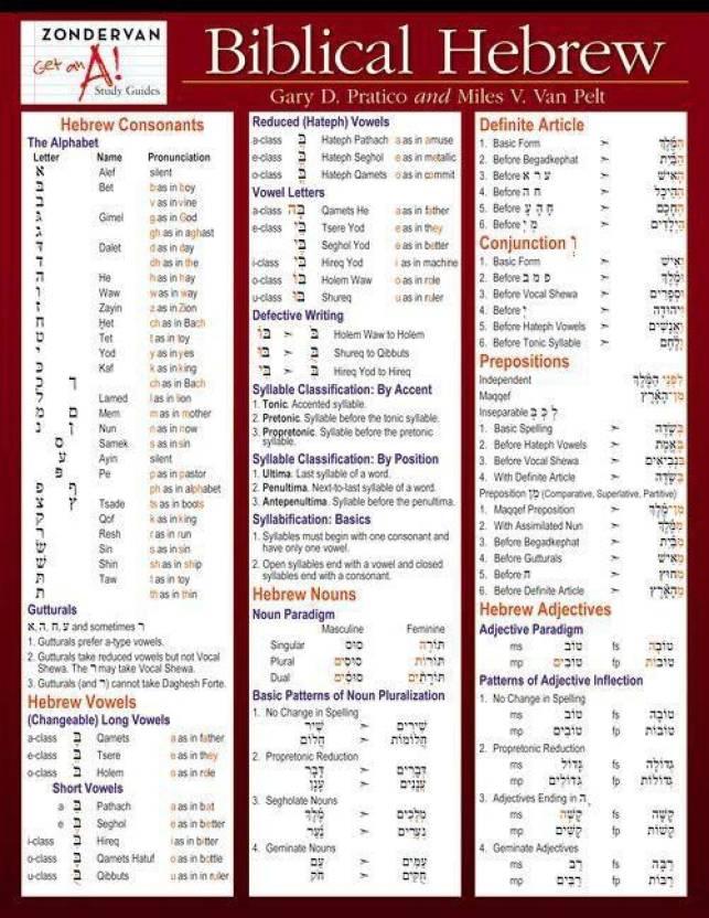 Biblical Hebrew Laminated Sheet (Zondervan Get an A! Study Guides