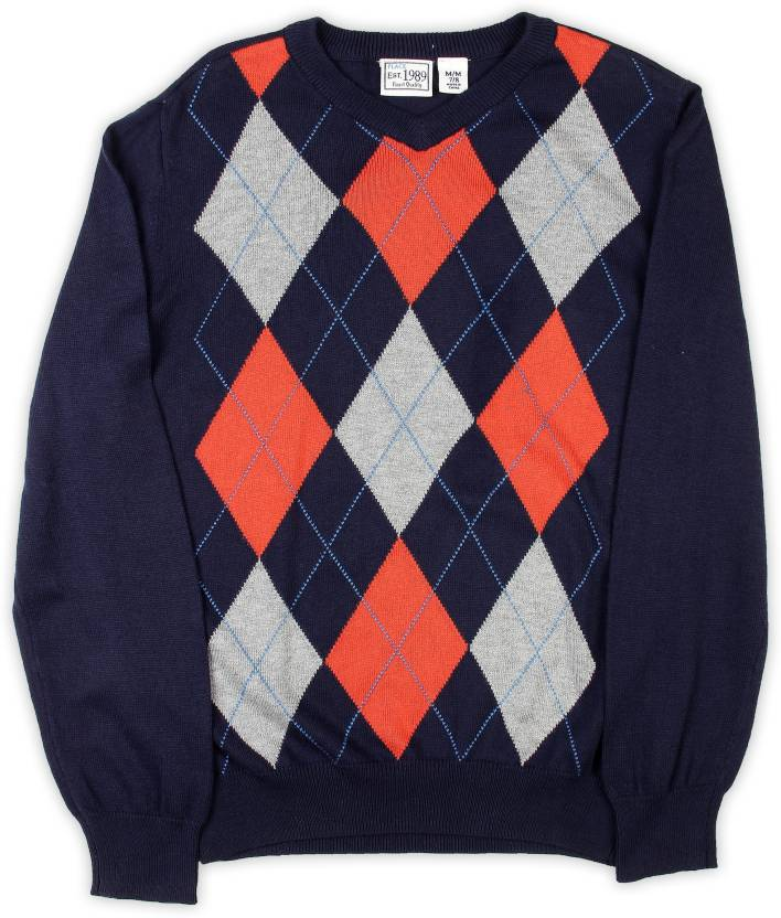 fbb4852f0abc The Children s Place Argyle V-neck Casual Boys Blue Sweater - Buy ...