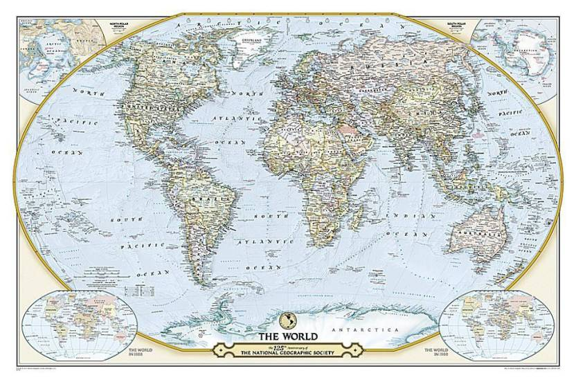 National geographic society 125th anniversary world map laminated national geographic society 125th anniversary world map laminated wall maps countries regions gumiabroncs Choice Image