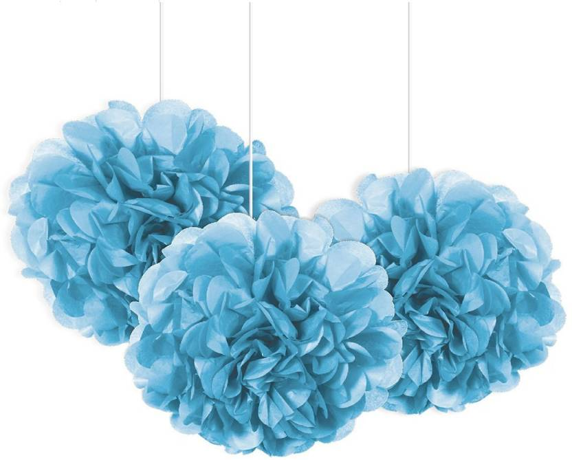 Optimus Traders Light Blue Tissue Paper Flower Pom Poms 12pcs 12