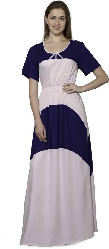 Patrorna Women s Nighty - Buy Navy Blue Baby Pink A Patrorna Women s ... f01ce80d3