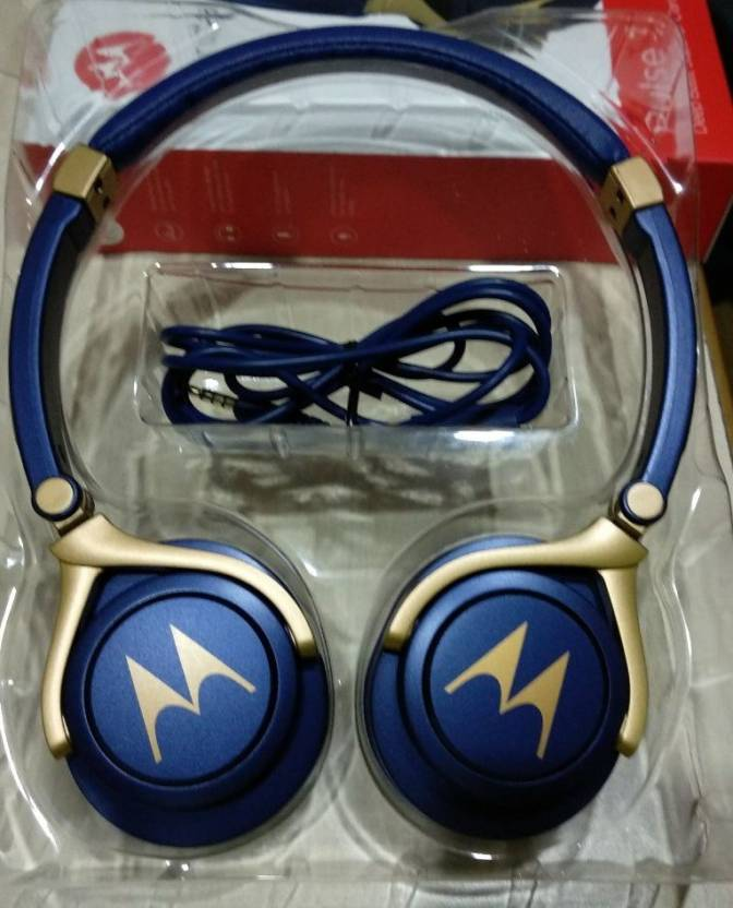 a0b3c89dc64 Motorola Pulse 3 Wired Blue Gold Wired Headset with Mic Price in ...