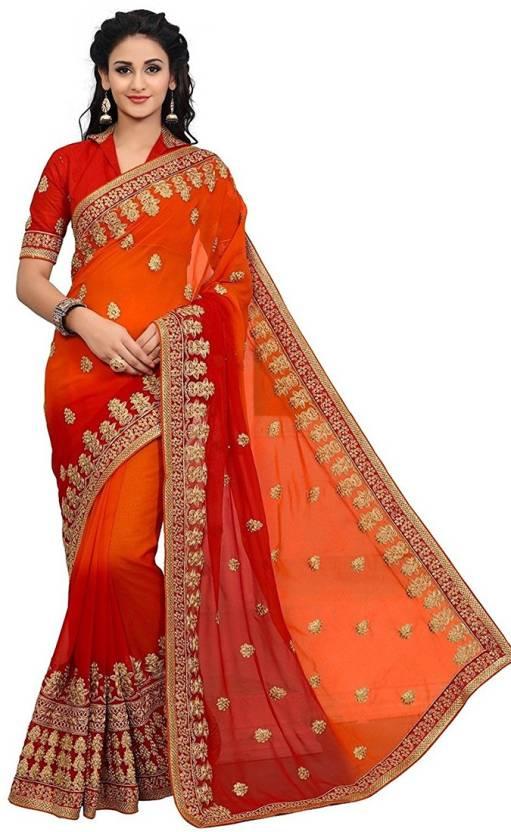 a03803b44b830f Buy Craftsvilla Embroidered Fashion Georgette Orange Sarees Online ...