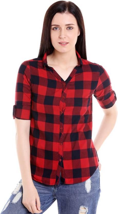 b0b1d8d37ccc Campus Sutra Women Checkered Casual Red Shirt - Buy Red, Black Campus Sutra  Women Checkered Casual Red Shirt Online at Best Prices in India |  Flipkart.com