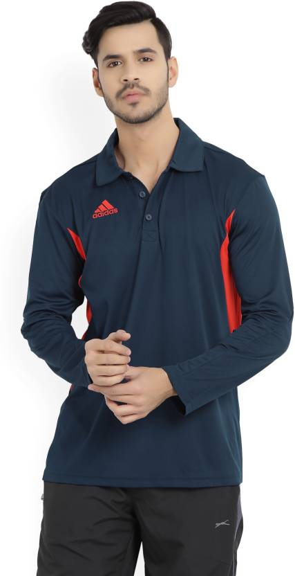 f36682e4 ADIDAS Solid Men's Polo Neck Blue T-Shirt - Buy Blue ADIDAS Solid Men's  Polo Neck Blue T-Shirt Online at Best Prices in India | Flipkart.com