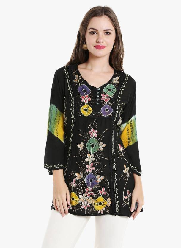 c5fc6fd9866 Ishin Party 3/4th Sleeve Floral Print Women's Black Top - Buy Ishin Party  3/4th Sleeve Floral Print Women's Black Top Online at Best Prices in India  ...