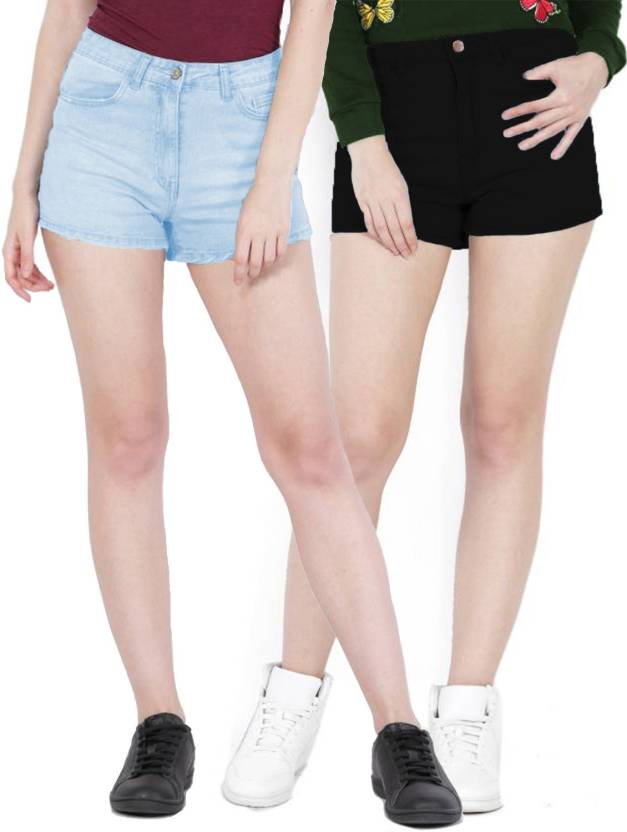 664f0a32a33fc Fuego Solid Women Light Blue, Black Hotpants - Buy Fuego Solid Women Light  Blue, Black Hotpants Online at Best Prices in India | Flipkart.com
