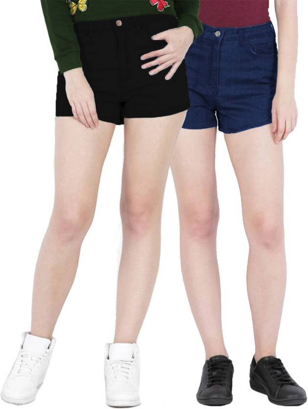 267ca93f64823 Fuego Solid Women Black, Blue Hotpants - Buy Fuego Solid Women Black, Blue  Hotpants Online at Best Prices in India | Flipkart.com