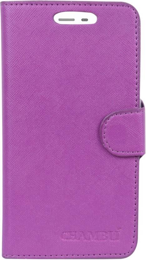 CHAMBU Flip Cover for Micromax Q346 Purple, Shock Proof