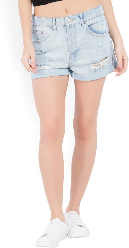 8ee65a8fac5 Forever 21 Distressed Women s Light Blue Denim Shorts - Buy LIGHT DENIM  Forever 21 Distressed Women s Light Blue Denim Shorts Online at Best Prices  in India ...