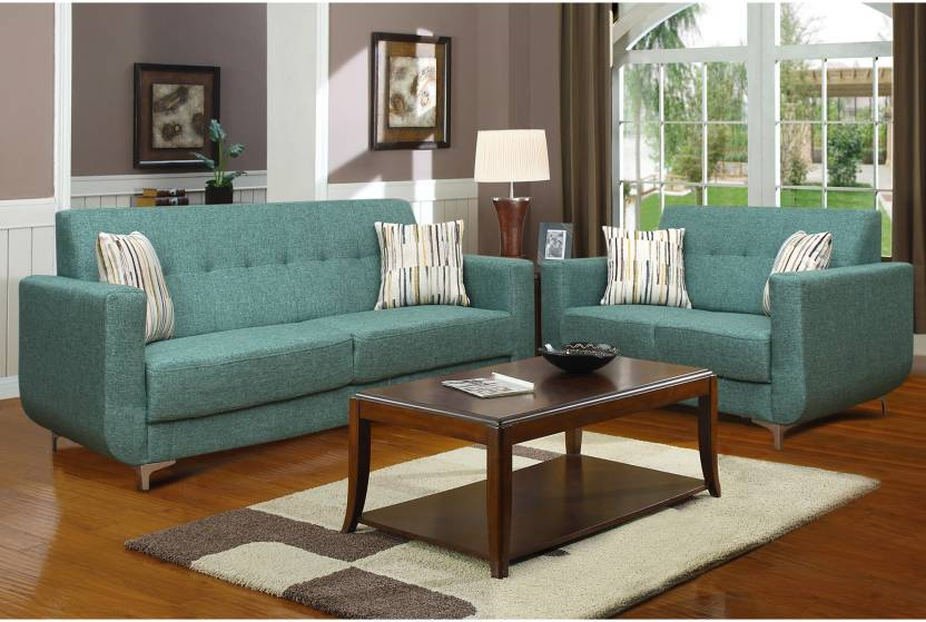 Peachtree Fiesta Sofa Set Fabric 3 + 2 Green Sofa Set Price in India ...