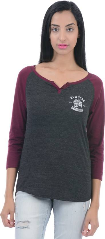 54074472a12 Aeropostale Solid Women V-neck Grey T-Shirt - Buy Charcoal Heather ...