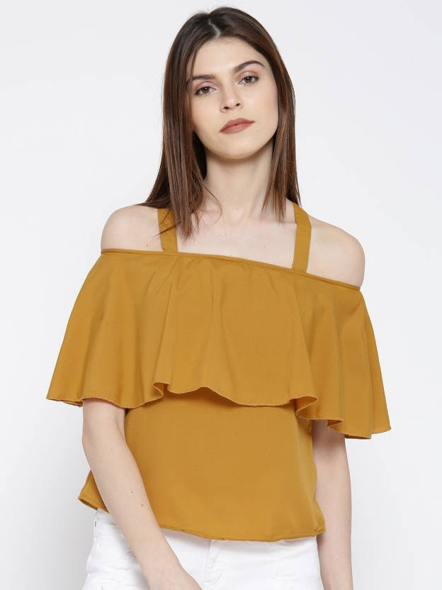 59d75f5b679 U&F Casual Cold Shoulder Solid Women's Yellow Top - Buy U&F Casual Cold  Shoulder Solid Women's Yellow Top Online at Best Prices in India |  Flipkart.com