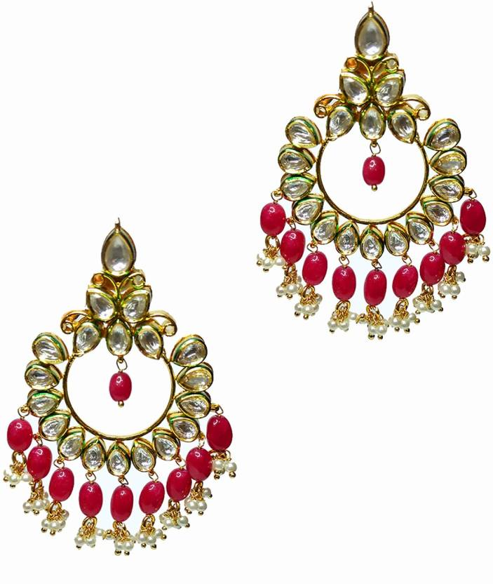 ff3410bc7 Flipkart.com - Buy cemaya Kundan Pearl Ruby Red Gold Plated Chand Bali  Earring Brass Chandbali Earring Online at Best Prices in India