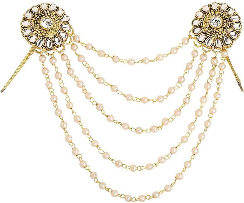 2bd6f8478 Sanjog Traditional Bahubali Inspired Kundan Stone Wedding Pearl Layed Hair Brooch  Juda Hair Decoration For Women Girls For Wedding Hair Pin (Gold)