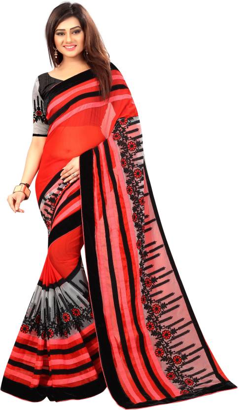 1f72737072 ARSHIMPEX Embroidered, Striped Bollywood Chiffon, Net Saree (Red, Black)