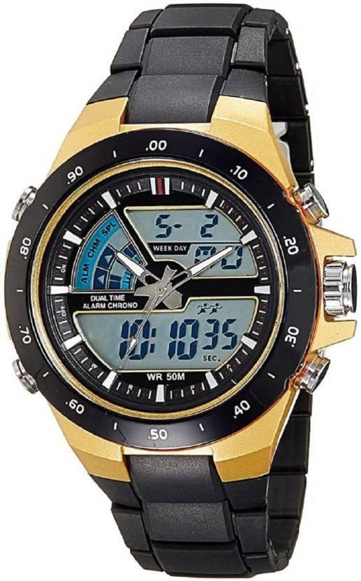a9705ffb36b SPINOZA black golden analog and digital attractive 1016 men and women  chronograph SPORT Analog-Digital