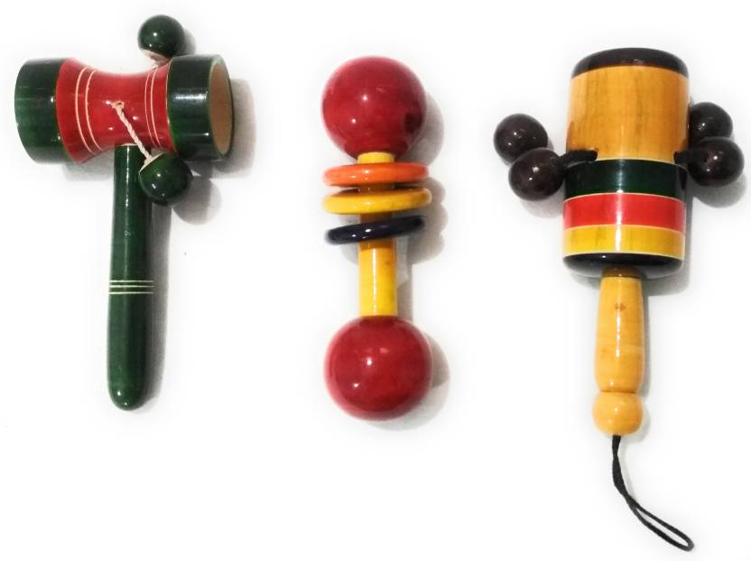 Crafts India Handcrafted Wooden Rattle Set 3 Pcs Rattle