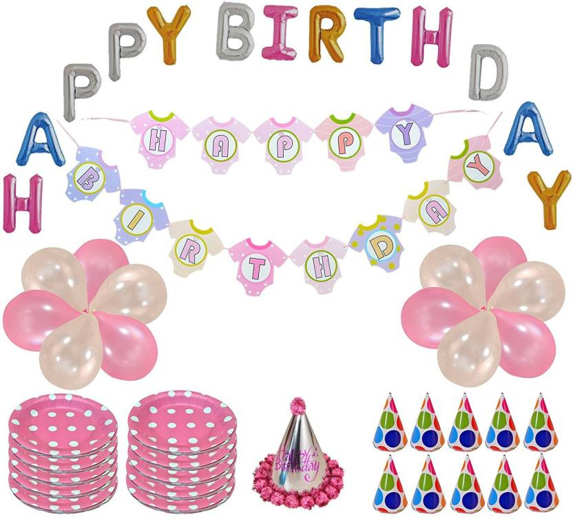 instabuyz happy birthday letter golden foil balloon party banner 10 plates 1 birthday cap