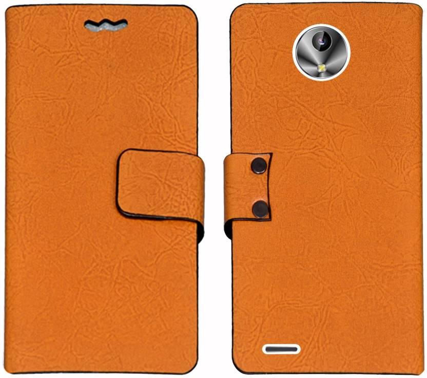 Mysha Flip Cover for intex Aqua Amaze Plus Orange