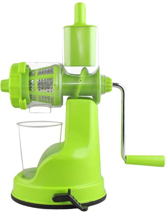Bluewhale New Green Color Fruits & vegitables Hand Juicer With Steel Handle  Plastic, Steel Hand Juicer